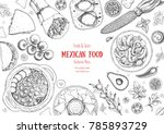 mexican food top view frame. a... | Shutterstock .eps vector #785893729