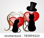 Stock vector two black cats with wedding elements 785894323
