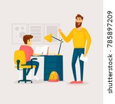 father helps with homework.... | Shutterstock .eps vector #785897209