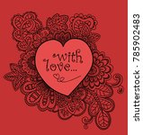 love card with floral pattern... | Shutterstock .eps vector #785902483