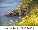 Historic Fort Amherst and lighthouse at The Narrows leading to St. John