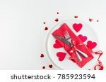 Romantic table setting on white wooden table.Valentine
