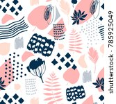seamless pattern with hand... | Shutterstock .eps vector #785925049