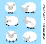 cute cartoon sheep set | Shutterstock .eps vector #785929960