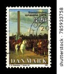 Small photo of DENMARK - CIRCA 1988: A stamp printed in Denmark shows King Frederick on horseback, painting by danish painter Christoffer Wilhelm Eckersberg, 200th anniversary of abolition of adscription, circa 1988