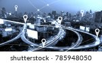 city scape with lines and... | Shutterstock . vector #785948050
