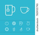 meal icons set with tea cup ...