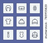 accessories icons set with cap  ...