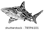 Shark, tribal tattoo - stock vector