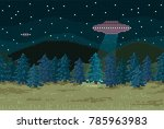 pixel background. night forest... | Shutterstock .eps vector #785963983