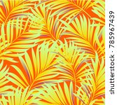 tropical palm leaves  jungle... | Shutterstock .eps vector #785967439