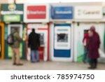 Small photo of Fuzzy background, people withdraw money from the cash machine, Jabuary 1, 2017, istanbul, Turkey
