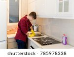 teenage boy in a red colored...   Shutterstock . vector #785978338