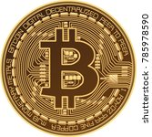 bitcoin logo icon vector 3d  | Shutterstock .eps vector #785978590