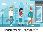 modern people go to work on... | Shutterstock .eps vector #785980774