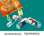 people in pain trapped inside... | Shutterstock .eps vector #785999053