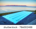 iceland pool on rock against... | Shutterstock . vector #786002488