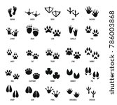 animal footprint icons set.... | Shutterstock . vector #786003868