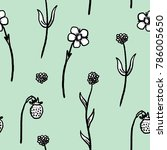 quirky floral background... | Shutterstock .eps vector #786005650