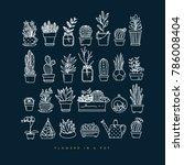 icon flat set plants in pots... | Shutterstock .eps vector #786008404