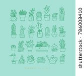 icon flat set plants in pots...   Shutterstock .eps vector #786008410
