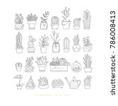 icon flat set plants in pots... | Shutterstock .eps vector #786008413