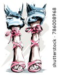 cute hand drawn legs in shoes.... | Shutterstock .eps vector #786008968
