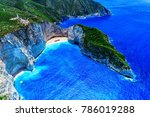 aerial view of navagio ... | Shutterstock . vector #786019288
