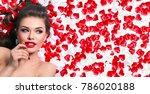a beautiful young girl lies in... | Shutterstock . vector #786020188