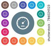 speedometer flat white icons on ... | Shutterstock .eps vector #786024523