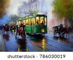 Old Tram  Oil Paintings...