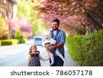 happy father with kids on the... | Shutterstock . vector #786057178