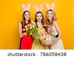 three attractive  pretty girls... | Shutterstock . vector #786058438