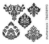 vintage set  baroque frame... | Shutterstock .eps vector #786058993