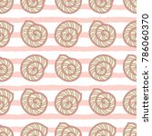 sea shell or scallop on striped ...   Shutterstock .eps vector #786060370