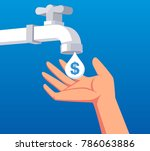 hand to catch the money flowing ... | Shutterstock .eps vector #786063886