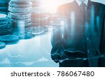 double exposure businessman and ... | Shutterstock . vector #786067480