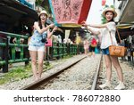 young girls enjoy taiwan travel ... | Shutterstock . vector #786072880
