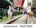 young girls enjoy taiwan travel ... | Shutterstock . vector #786072880