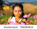 close up caucasian woman and... | Shutterstock . vector #786084814