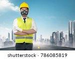 handsome asian worker in a... | Shutterstock . vector #786085819