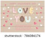 flat design valentine's card...   Shutterstock .eps vector #786086176