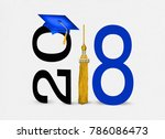 blue graduation cap with gold... | Shutterstock . vector #786086473