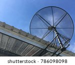 satellite disc on the home roof ...   Shutterstock . vector #786098098