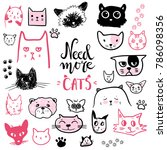 funny doodle cat icons... | Shutterstock .eps vector #786098356