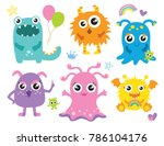 cute little monsters vector... | Shutterstock .eps vector #786104176