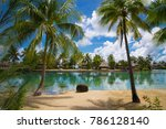 tropical bungalows on a lagoon... | Shutterstock . vector #786128140