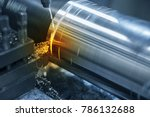 the  lathe machine cutting the... | Shutterstock . vector #786132688