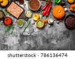 beef minced meat with aromatic... | Shutterstock . vector #786136474