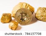 gold coin bitcoin. a mound of... | Shutterstock . vector #786157708